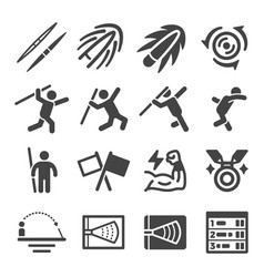 javelin throw icon set vector image
