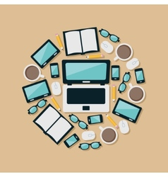 laptop and equipments in circle vector image
