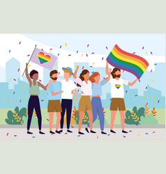 Lgbt community together with rainbow flags vector
