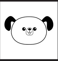linear dog happy face head icon contour line vector image