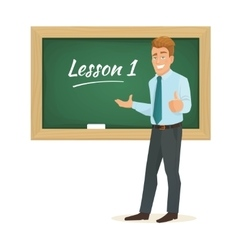 male teacher standing at the blackboard vector image