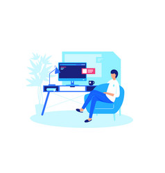 man relaxes at home computer vector image