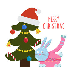 merry christmas greetings cartoon hare rabbit tree vector image