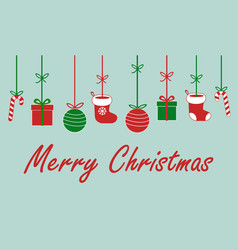 merry christmas sign text with santa claus socks vector image