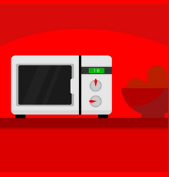 Microwave kitchen home scene vector