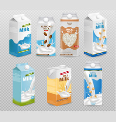 milk boxes isolated on transparent background vector image
