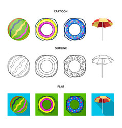 Multicolored swimming circle cartoonoutlineflat vector
