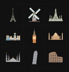 Nine flat landmark icons vector