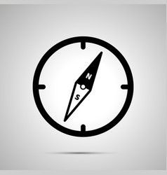 old compass simple black icon with shadow on gray vector image