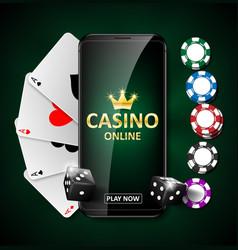 online internet casino marketing banner phone app vector image