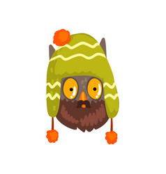 owl wearing knitted winter hat hipster bird vector image