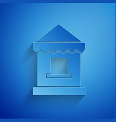 Paper cut ticket box office icon isolated on blue vector