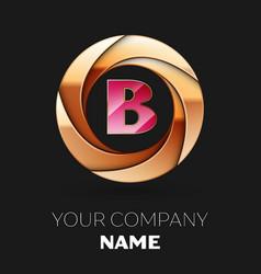 pink letter b logo symbol in golden circle shape vector image