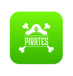 pirate bone icon green vector image