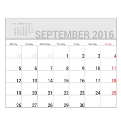 Planners for 2016 september vector