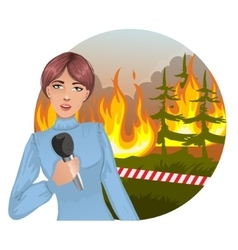 Pretty young woman reports news about fire vector image