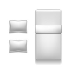 realistic detailed 3d template blank white bed vector image