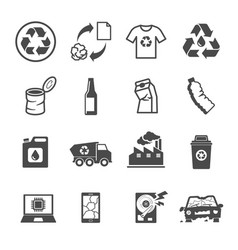 Recycling garbage contains such icons as waste vector