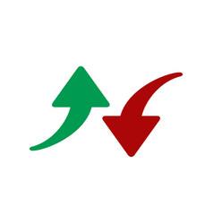 red and green arrows icon isolated on white vector image