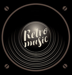 Retro music banner with acoustic speaker vector