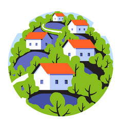 round badge with rural landscape with small houses vector image