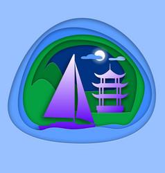 sailing yacht at sea with pagoda near mountain vector image