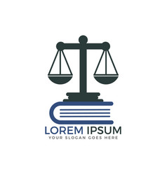 Scale of justice and book logo design vector