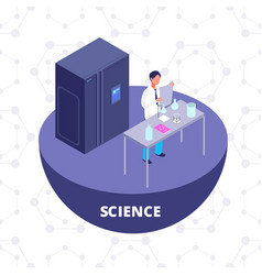 Science 3d isometric research lab with laboratory vector