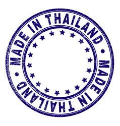 Scratched textured made in thailand round stamp vector