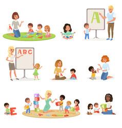 Set children doing speech therapy with teachers vector