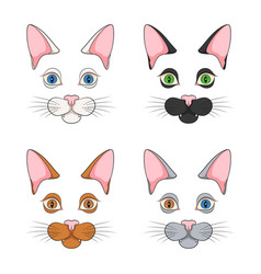 set color with cat faces muzzle vector image
