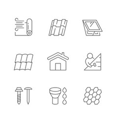 Set line outline icons roof vector