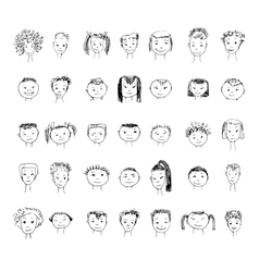 Set of faces vector image