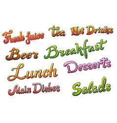 set of menu title vector image