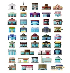Set of the flat city buildingss and shops vector image