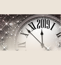 shiny 2019 new year background with clock vector image