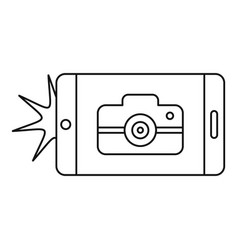 smartphone take photo icon outline style vector image