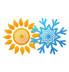 snowflake and sun design vector image