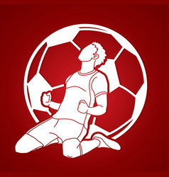 Soccer player winner action graphic vector
