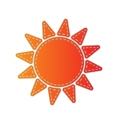 Sun sign Orange applique isolated vector image