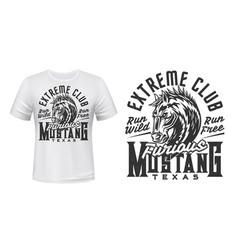T-shirt print mustang horse head extreme club vector