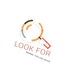 thin line design logo magnifying glass vector image