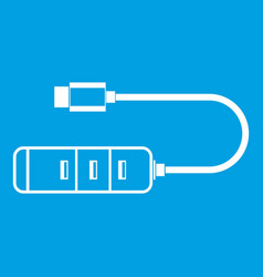 usb adapter connectors icon white vector image