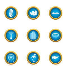Wandering icons set flat style vector