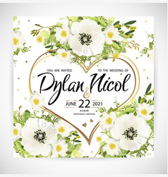 Wedding heart floral template invite vector