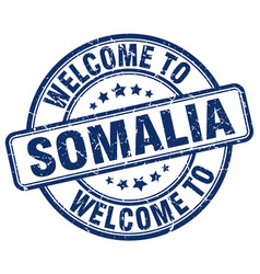Welcome to somalia blue round vintage stamp vector