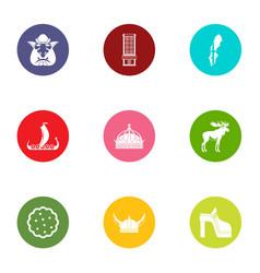 wild icons set flat style vector image