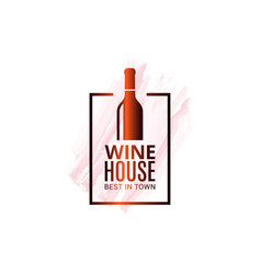 wine bottle watercolor logo winehouse icon white vector image