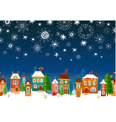 Winter urban landscape christmas and new year vector