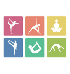 Yoga pose icons square vector